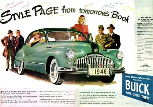 1946 ad with civilians and men in uniform looking over Buick's modern style.
