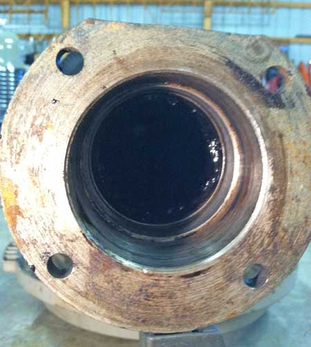 Bearing and seal chamber is cleaned and ready for new parts.