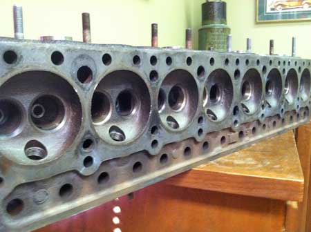 The underside of my cylinder head.  Valve seats will be cut using a Neway cutter.