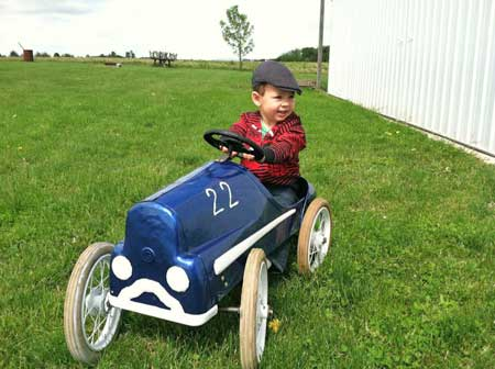 Young Pierce is a very lucky boy to have a 1950s pedal car that he is allowed to have fun in!