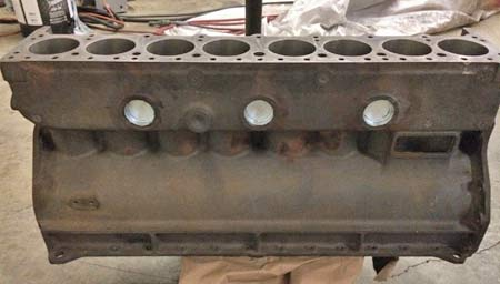 The engine block back from the machine shop.