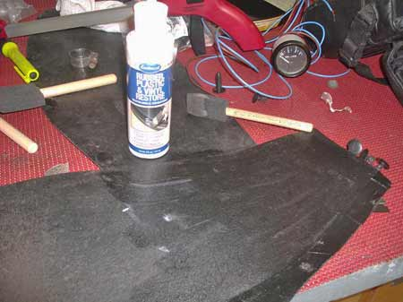 We applied two coats of Eastwood's new Rubber, Plastic & Vinyl Restore product with a cheap foam paint brush.