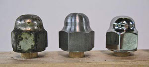 Side-by-side comparison of the acorn nuts. Left is the original, the middle is the nut as it was machined and on the right is the acorn nut as it came back from the chrome plater.