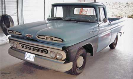 This 1961 Apache has been in the family for generations and still wears its faded Brigade Blue paint. Front fender is a GM replacement that hasn't been primed yet.