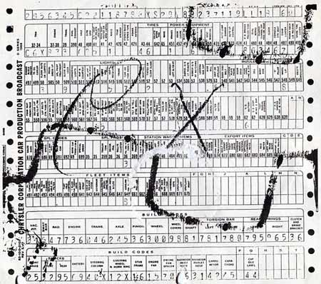 The 1968 and earlier Chrysler Corporation build sheet was a Formaliner variation that used three number codes and was less easy to read compared to the 1969 and later build sheets.