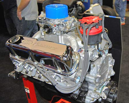 This 340-hp Ford X302D crate engine utilizes an Edelbrock Performer RPM Air Gap intake manifold and a Holley Street Avenger 570 cfm carburetor with vacuum secondaries.