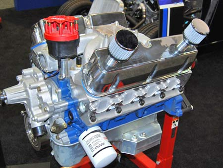 "This is Ford's D347SR ""Blue Oval"" sealed racing crate engine. It features an Edelbrock Victor Jr. intake. It's designed for use with a Holley 600 cfm carburetor and so equipped will put out 415 hp and 400 lbs.-ft. of torque."