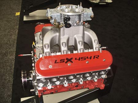 Chevy's LSX 454R crate engine is aimed at the drag racing market. It is fitted with a Holley Dominator carburetor. These come in different models from 750 cfm to 1475 cfm. With the right fuel setup this motor will make 770 hp.