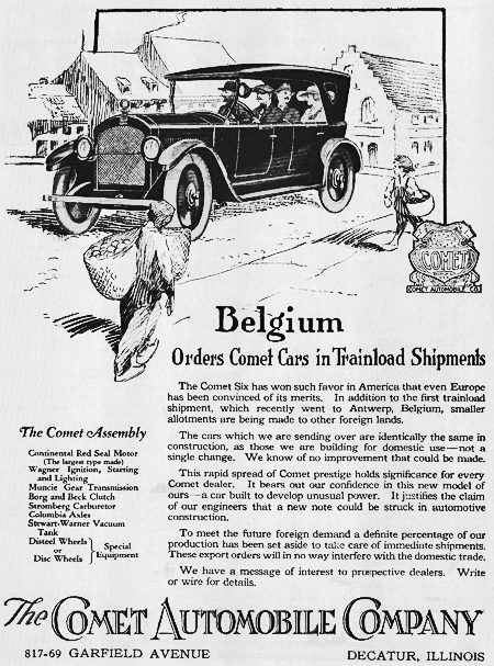1920 ad Proclaiming the Big Shipment to Belgium.