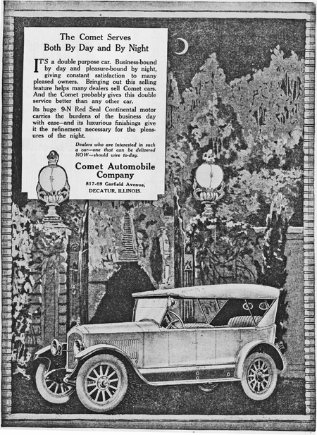 1920 ad for Two Classes of Buyers -- Another duality was expressed in an ad discussing service 'By Day and By Night', a dual-purpose car that was 'business-bound' by day and 'pleasure-bound' by night, giving constant satisfaction to many pleased owners.