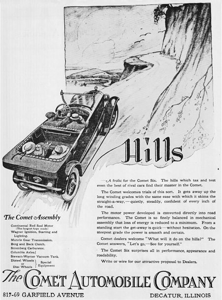 1920 ad showing the Comet Taking Hills.