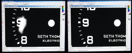 Photo 3 – A side-by-side comparison of the program used to touch-up the Seth Thomas clock dial face plate. On the left is the face plate as it was scanned into the computer and the background color set to a dark shade of black. On the right is the view after all the graphics have been corrected. Each pixel was corrected to be either a light color or dark color and in certain cases the edges between the two colors were set as half tones for blending.