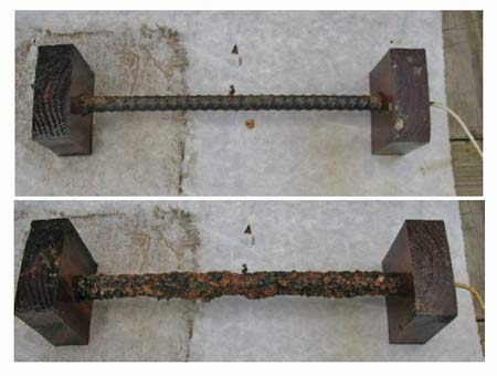 Photo 5 — Top: Rebar segment with a long length of stranded wire soldered into the end. The scrap wooden blocks act as insulators since the tank was already cut open. Bottom: The same Rebar after a few hours of electrolysis operation. The rust collected is easily removed using a small wire brush and a quick rinse in fresh water. As rust is formed on the Anode, the current draw will decrease. At 50 percent or less of the initial current is a good indicator of when the Anode requires cleaning..