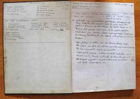 Example of a hardbound book used as a dairy during disassembly. Include vehicle specific information on the first few pages. Remember, this diary is used to tell a story so write down in words and make diagrams of parts and their orientation. You can also write in picture numbers taken from your digital camera that are related to that section.