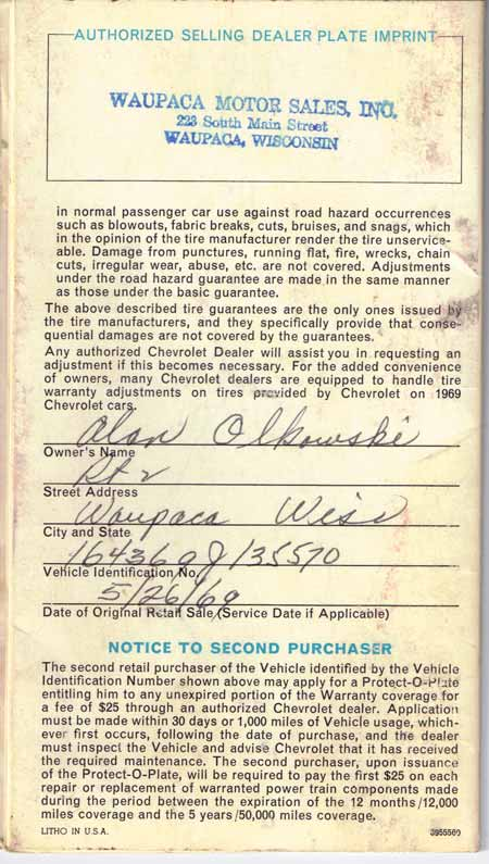 The bottom paragraph on this page of the warranty booklet contains a Notice To Second Purchaser telling he or she how to apply for a Protect-O-Plate to keep unexpired warranty coverage in effect. A second plate cost $25 in 1969.