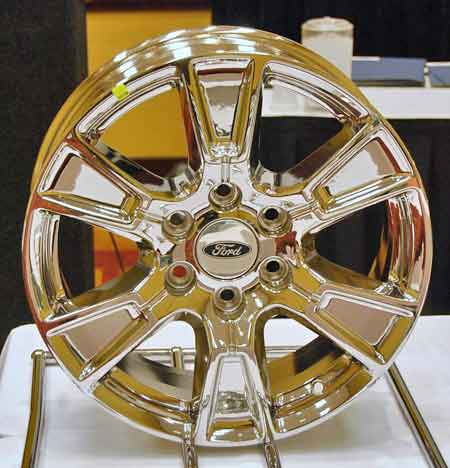 Automotive wheels coated using the PVD process wind up with a finish that looks shinier than chrome and resists deterioration much better.