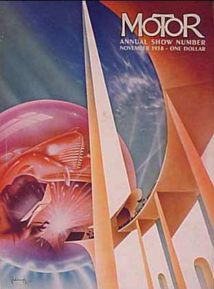 1938.  The cover, no longer set off by a silver border, depicts the Trylon (triangular-shaped pylon) and Perisphere (18-story sphere) that were symbols of the New York World's Fair of 1939. The fair's theme was 'The World of tomorrow'. Against a bluish-green background a purplish-red sphere encloses a car floating above a man in a welding mask holding a welding gun giving off hot sparks. On the right of the picture white columns trimmed in peach and copper tones, with lower rounded arches, support a throughway sloping from the sky, through the Trylon, and towards the welding. Along the surface of the roadway are people holding banners and several sleek vehicles, one a tram or train, all headed into the future.