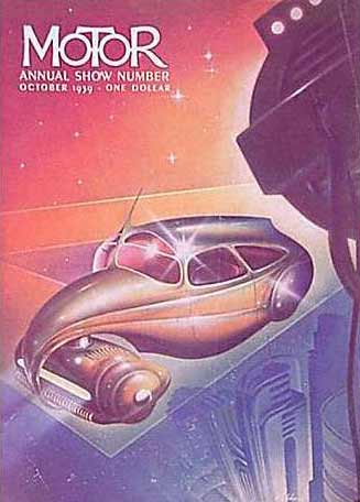 1939. A blue background at the bottom changes into a burgundy background at the top. At bottom right several deco-style high rises, one of them reminiscent of the Guggenheim Museum, appear. Above them a huge theatrical light arises sending its beams onto the centrally-placed, sleek car of the future that rests on a glass platform and floats in space. The front hood rests on a central pivot and tapers into a thin band of metal that encloses a roller-like compartment, looking something like a rounded head of a vacuum cleaner.  A center divider splits the front windshield and continues on, rising above the car as an antenna.