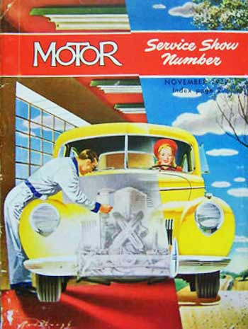 1947. While this cover at first appears realistic with a front-on view of a yellow car being driven by a red-hatted, young blonde woman who drives over a hilly road on a sunny day, a slanted line divides that image. The bulk of the drawing depicts the same car from the mechanic's viewpoint — red floor and ceiling, large mullioned window, and a mechanic in light blue uniform leaning over a 'dissolved' portion of the hood to work on a black and white-sketched engine.  [Note: This and other post-War designs utilize more color and appear less daring and more cartoonish than pre-War, deco-influenced designs.]