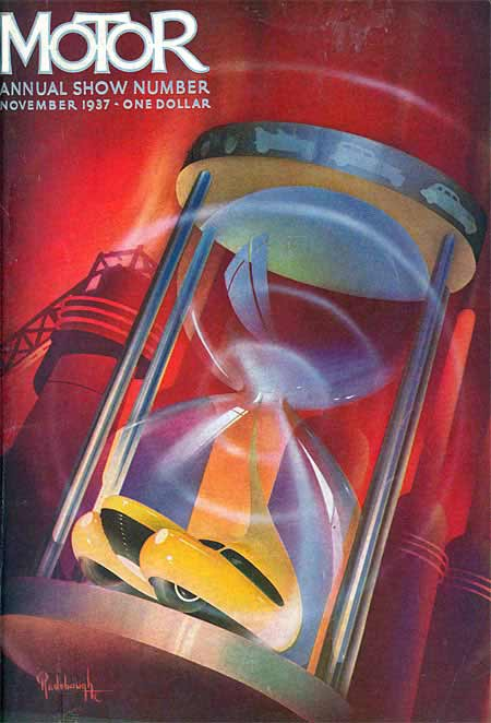 1937. This cover features a large hour glass against a reddish-brown background, and the slim silver border surrounds it. The background is an industrial scene with large banded columns on the right side and a larger column topped by a searchlight and enclosed by a metal cage with a metal gantry leading off one side. The hourglass is held together by four metal posts and cars in profile encircle its metal top. Sands passing through the middle portion of the glass recombine in the lower chamber to create a golden car of the future.