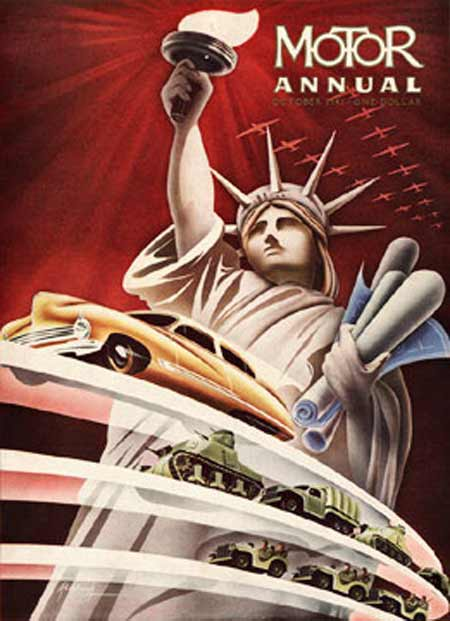 1941. A plane squadron emerges from the top right hand corner of the burgundy background, trimmed in silver. The Statue of Liberty is the central character in the drawing, her right arm holding a torch and her left clutching blueprints, presumably drawings of vehicle designs. Three bands of roadways appear in front of her, the topmost band holding a golden-colored passenger car, the middle band has military tanks and trucks, and the lowest band with military jeeps.