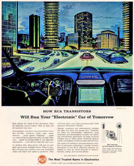 1964 RCA ad promoting electronics for use in cars of the future.