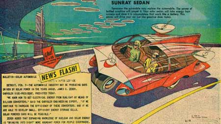 Sunray  Sedan. A solar-powered car with energy stored in 'accumulators'. (Feb. 9, 1958)