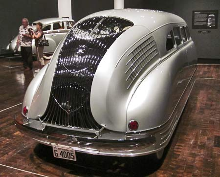 1936 Stout Scarab rear window is located behind a grille which even further limits rear visibility.