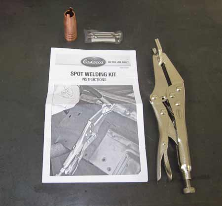Eastwood's Spot Welding Kit for MIG welders includes a spot weld nozzle, spot weld clamping pliers and a 3/16'' drill bit along with instructions.
