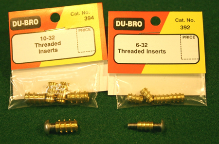 Threaded inserts shown with threaded rivets. Shown are 10-32 inserts on the left and 6-32 inserts on the right.