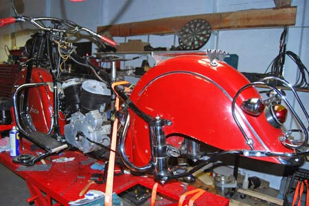 Hobbyist Curt Muller of Kalamazoo, Mich., used a orange tie-down strap to fasten his Indian Chief motorcycle to a cycle lift in his shop. Without being strapped down tightly, the bike could tip over.