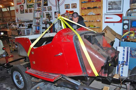 We even used some long, heavy, yellow tie-down straps as a body removal too to lift the body tub off our MG TD. In this application, it was fairly important to get the lifting knot very close to the exact center of the body tub.