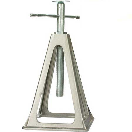 Threaded screw type jack stands are used to support the rear of the trailer when off loading your collector vehicle.