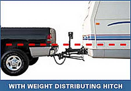 The same tag along trailer with weight distribution bars. The bars literally lift the hitch up which applies pressure onto the tow vehicle's front tires.