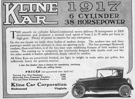Kline Kar ad from 1917.