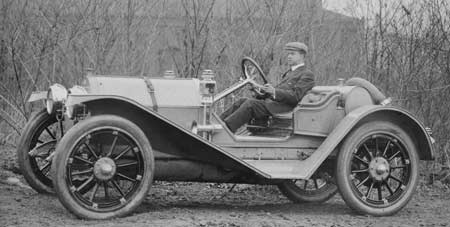 James A. Kline driving his 1912 Kline Kar.