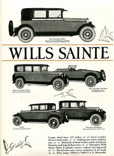 First page of 1924 two-page ad, featuring 5- and 6-passenger sedan, roadster, coupe, and brougham Interior fittings spoke 'luxury' in keeping with the times and dependent upon the model. Customers could select leather upholstery or any number of upholstery fabrics. Woodwork was walnut, finishes were satin silver. For open models top and side curtains were standard equipment. For the sedan, windows were crank-operated and had silk shades. There was a vanity case with mirror, memorandum book, silver-topped bottles in walnut cases, double ashtray and match holder, corner reading lights, dome light and robe rail. When the Cabriolet roadster came out, it featured a compartment for golf bags on its right hand side.