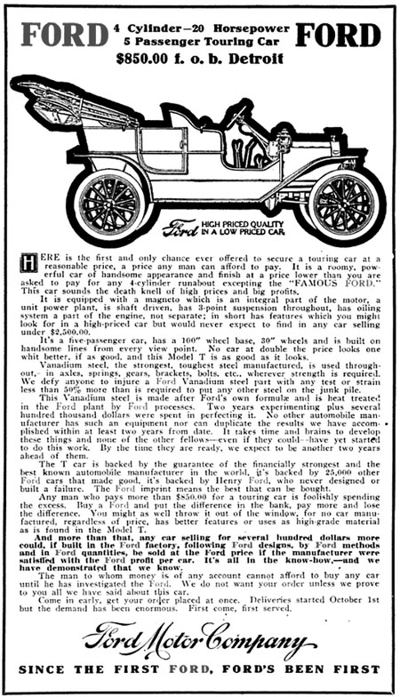 An excerpt from October 1908 Ford Times ad: 'This Vanadium steel is made after Ford's own formulae and is heat treated in the Ford plant by Ford processes. Two years experimenting plus several hundred thousand dollars were spent in perfecting it.