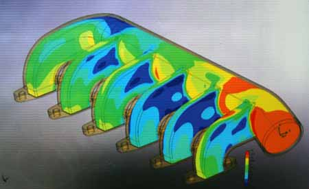 Using computer aided design (CAD) files and programs, Woody was able to illustrate the air flow patterns in this intake manifold.