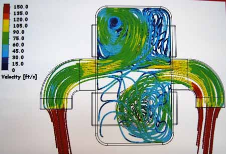 This drawing maps the velocity of airflow going into a supercharger.