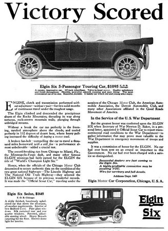 Elgin Six ad announcing the Elgin Six as being appointed the Official Scout Car by the War Department.