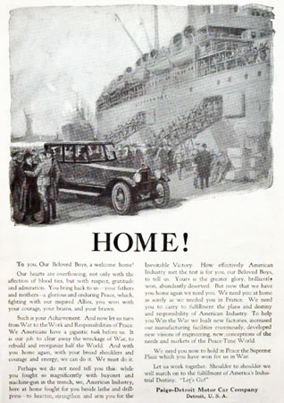 Paige Motor Car Ad welcoming troops home.