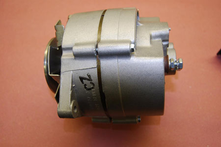 This basic type of alternator may have been used in many GM cars, but when it was used in a '69 Camaro Z/28 it was marked with a 'CZ' code and fitted with a deep-groove pulley, Larry's restored alternator is an original Z/28 unit.