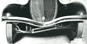 Independent wheels...Hudson-Terraplane offers as optional equipment independent wheel suspension accomplished by using a jointed front axle. The wheel at the right is raised to show the action.