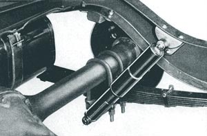 Telescopic shock absorber is new on several cars. The Hudson equipment illustrated is said to smooth the ride at high speeds and when the going is rough.
