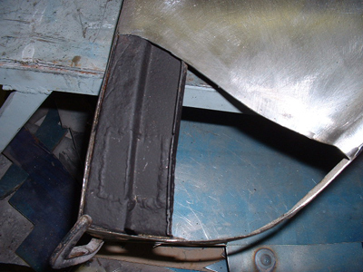 repaired rust on 56 chevy fender brace. After the old patch was removed we