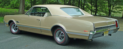 The color is Sierra Mist. All the 442s were based on the Cutlass F85 body and chassis, with performance and suspension modifications, special badges and trim setting them apart. In all, five Oldsmobile 442 models were offered in 1966.