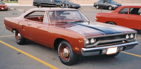 High Impact paint colors are desirable such as this Burnt Orange Metallic with Burnt Orange vinyl interior1970 Roadrunner.