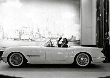 The EX-122 Corvette made its debut at the Waldorf Astoria Hotel in January, 1953, on a rotating turntable.