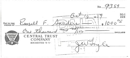 Here's the check for $1,000.00 Jack Ingle gave to Russell Sanders to purchase EX-122 on October 10, 1959. Photo courtesy of Kerbeck Chevrolet.